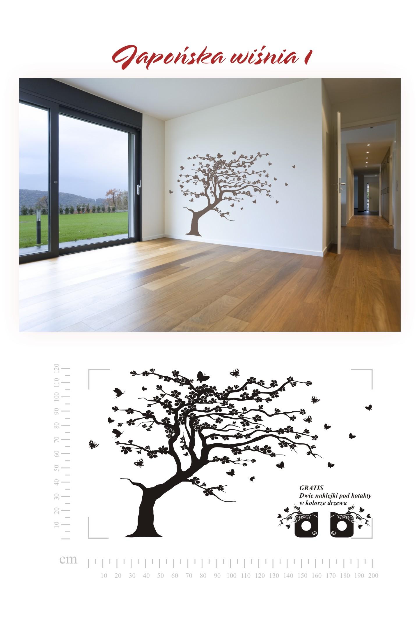 Samolepka na zeď japonská třešeň 200x120cm strom