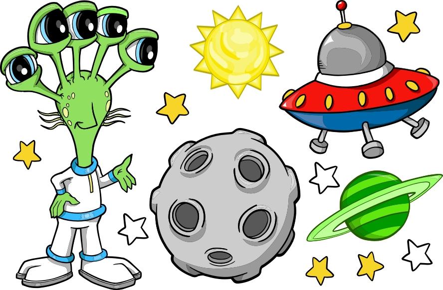 Kosmos, ufoludek, ufo - zestaw naklejek Pojazdy 268 :: Naklejkolandia