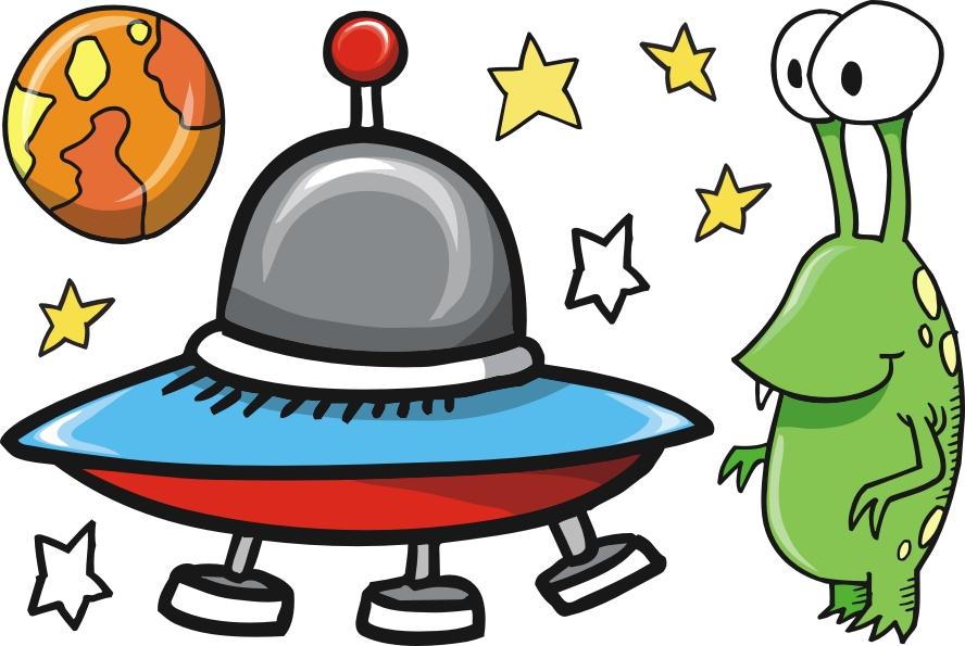 Kosmos, ufoludek, ufo - zestaw naklejek Pojazdy 266 :: Naklejkolandia