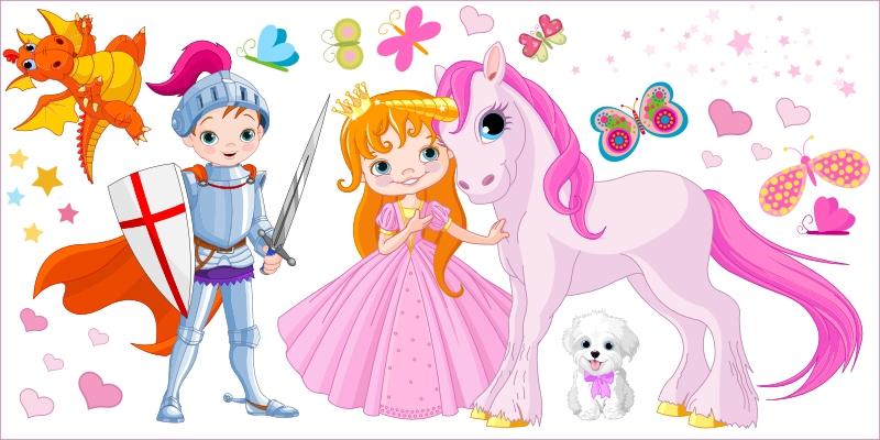 Księżniczka i Rycerz 20 - zestaw :: Naklejkolandia