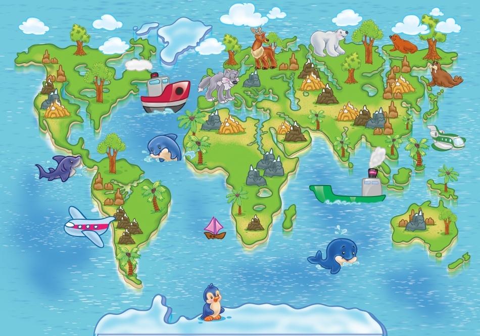 Naklejka dla dzieci mapa wiata edukacyjna nr 2 for Immagini del mondo per bambini
